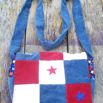 Red White Blue Patchwork Recycled Corduroy Purse Ready to Ship Patriotic