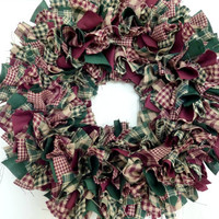 Small Rag Wreath Burgundy Green Homespun Fabric Christmas Winter
