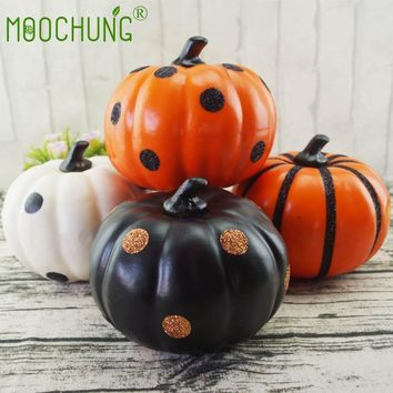 "MOOCHUNG Artificial Novelty Halloween Pumpkin Decorations Autumn Fall Thanksgiving Decorating Pumpkins 5.9"" White Black Orange"