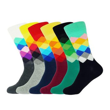Multicolors Diamond Patterned Socks Cotton Combed Colorful Brand Mens Casual Socks Gradient Color 6 Colors
