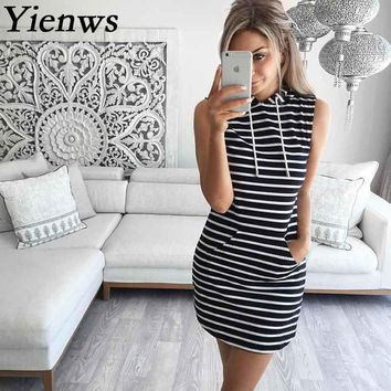 Yienws Women Summer Dress 2017 Self Portrait Sleeveless Striped Dress Causal Grey Robe Femme Vestidos CC8012