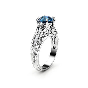 Unique Blue Diamond Engagement Ring Unique Art Deco Engagement Ring 14K White Gold Art Deco Ring