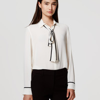Tipped Bow Blouse | LOFT