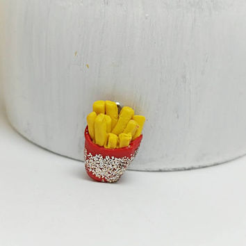 Mini Food charm, French fries, Polymer clay charm, Food charms, Cute food charm, Fench fries charm, Bracelet food charm, Fast food charm,