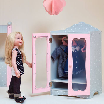 "Olivia's Little World - Polka Dots  Princess 18"" Doll Classic Closet with Hangers - Grey"