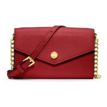 Michael Michael Kors Saffiano Leather Iphone 4S 5 Crossbody Red