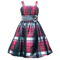 Rare Editions LITTLE GIRLS 4-6X BURGUNDY SILVER BLACK TAFFETA PLAID BUBBLE SKIRT Special Occasion Flower Girl Holiday Pageant Party Dress