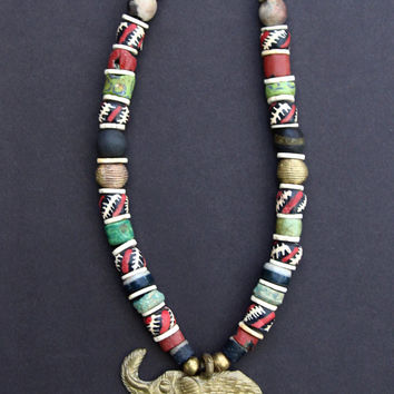 African Brass Elephant Necklace w Colorful Vintage and New African Beads Red Black Green Ethnic Boho Jewelry