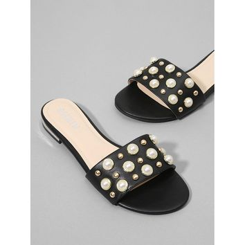 Faux Pearl & Studded Flat Slides