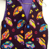 Handmade VEST Girls 10 12 Hippie CARS Peace Symbols NEW Trendy Back to School Volkswagen Beatle