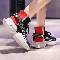 OFF WHITE Fashion Woman Breathable Elastic Knit Sneakers Running Shoes Black