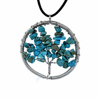 Tree of Life Turquoise Wire Wrapped Spiritual Necklace