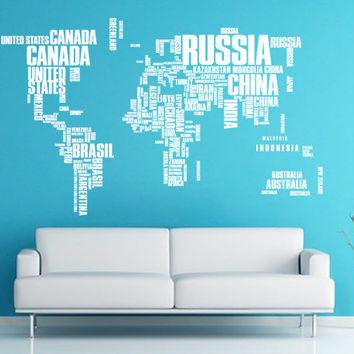 Large 7' World Map Words Typography Travel Decal for Home, Dorm, Office, Living Room or Bedroom