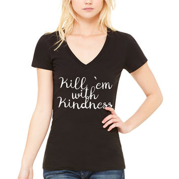 "Selena Gomez ""Kill 'Em With Kindness"" Women's V-Neck T-Shirt"