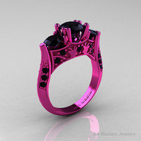 Nature Inspired 14K Pink Gold Three Stone Black Diamond Solitaire Wedding Ring Y230-14KPGBD