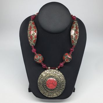Turkmen Beaded Necklace Antique Afghan Kuchi Tribal Red Carnelian Pendant VS194