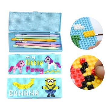 Unicorn Pencil Case DIY Building Blocks Modular Toys Cute Hello Kitty Minions Supper Spider Man For Kids Child Girl Student Gift