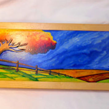 Autumn Landscape Oil Painting, Farm Scene, Farm fields oil painting, oil painting on wood, hand carved painted scene, Fall painting