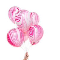 "11"" Marbled Balloons in pink red and white for unique party decorations"