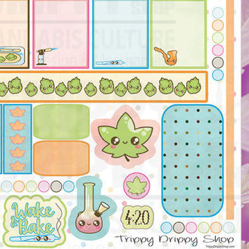 Cannabis Kawaii Stickers - Planner Stickers - Marijuana Planner Stickers