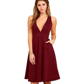 V-neck Wine Red Dress with Pocket +Gift Necklace