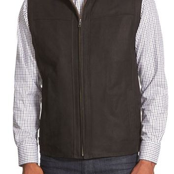 Men's Remy Leather Zip Front Lambskin Leather Vest,
