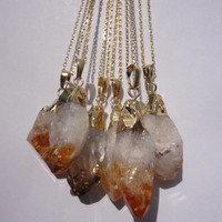 Citrine Raw Crystal Drop Gold Pendant Necklace/Amber Colored Crystal/Gold and White