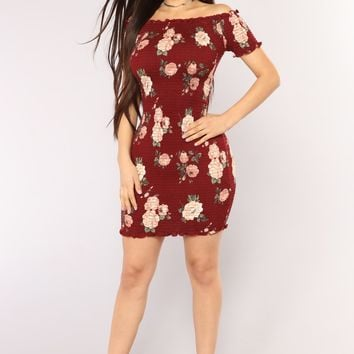 Grow With It Floral Dress - Burgundy