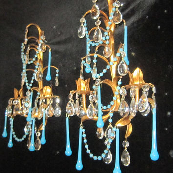 2 Italy Tole Macaroni OPALINE beaded candle Sconce Florentine vintage Crystal Prisms garlands
