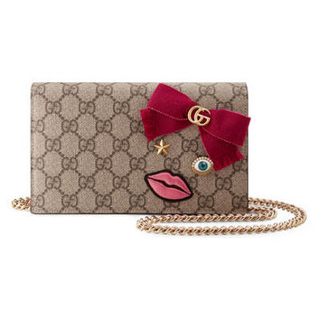 Gucci Mini chain bag with embroidered face