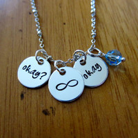 "The Fault in our Stars Inspired ""Okay? Okay"" Necklace. Hazel and Augustus Infinity symbol. Silver colored & Swarovski Crystal. TFIOS"