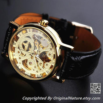Mens Steampunk Leather Wrist Watch Groomsmen Gift, Mechanical Watch , Anniversary Gift For Men (ET0083-GOLD)