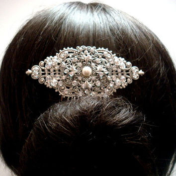 Bridal hair comb, vintage hair comb, antique silver hair comb, rhinestone hair comb, Swarovski crystals and pearl