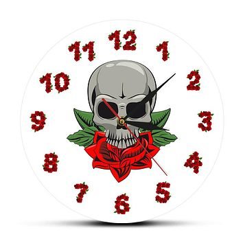 Skull Flower Rose Gothic Wall Clock