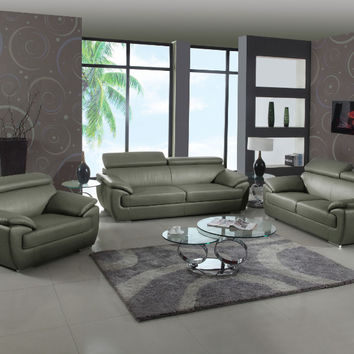 2 pc Sheila collection modern style gray genuine leather upholstered sofa and love seat set