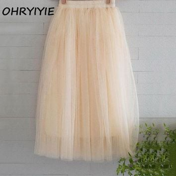 CREYONHC OHRYIYIE Tulle Skirts Women 2017 Summer Casual High Waist Long Skirt Elastic Waist Sun Fluffy Tutu Skirt Jupe Longue Femme S1003