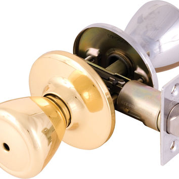 Legend 809143 Tulip Style Door Knob Privacy Bed and Bath Lockset One Side Polished Brass One Side Chrome US26 Chrome/US3 Polished Brass Finish