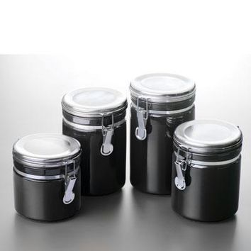 Canister Set Black Ceramic 4pc