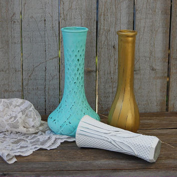 Shabby Chic Vases, Mint Green, White, Gold, Painted, Distressed, Glass, Wedding Decor, Set of 3