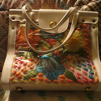 VINTAGE CABANA Made in the PHILIPPINES woven raffia flowers burlap vinyl Handbag  new vintage