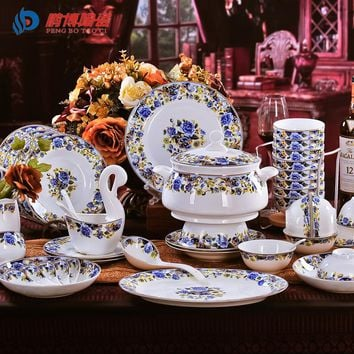 Antique Retro 56 Pieces/Set Bone China Porcelain Dinnerware Sets Royal Blue Enchantress Ceramic Dining Dishes Tableware Sets