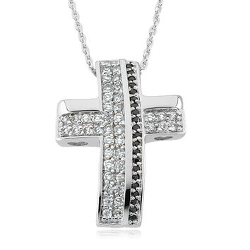 Beauty from Ashes Cubic Zirconia Cross Necklace in Sterling Silver