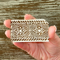 Flower Border Stamp, Indian Printing Block, Hand Carved Wood Stamp, Henna Tattoo Textile Ceramics Clay Pottery Craft Stamp, India Decor
