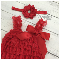 Christmas Red Lace Petti Romper and matching rhinestone lotus poinsettia flower headband hair bow - newborn infant toddler baby girl
