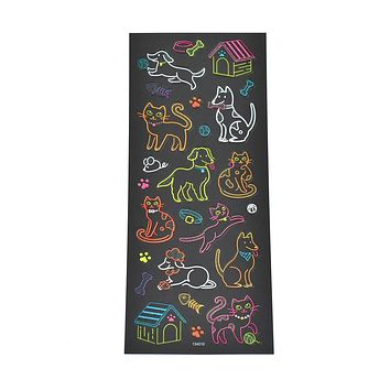 Cats & Dogs Clear Glitter Neon Stickers, 25-Piece