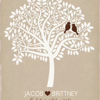 Personalized Tree with Birds Representing Bride and Groom - 8x10 Custom Art Print, Whimsical Wedding Decor, Tree Shape, Couples Name, Love