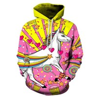 Psychedelic Unicorn Printed 3D Hoodie