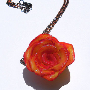 Orange rose necklace with yellow in porcelain handmade and hand painted