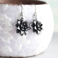 Lotus Flower Earrings Antique Silver Daisy Drop Earrings Spring Wedding Mothers Day Gift for Women Nickel Free Water Lily Unique Small