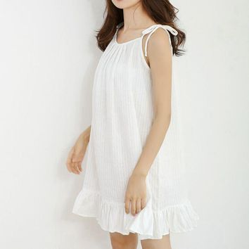 CFYH Sleeveless Sexy Nighties O-neck Nightdress Clothing Nightwear Mini Nightdress Women's Cotton Summer Nightgown